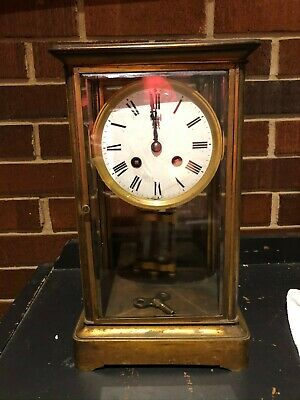 Nice French 19th Century Brass 'Four Glass' Mantle Clock