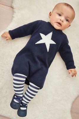 BNWTS NEXT Baby Girls Navy Blue Ivory Star Knitted Dress & Tights Newborn 10lbs