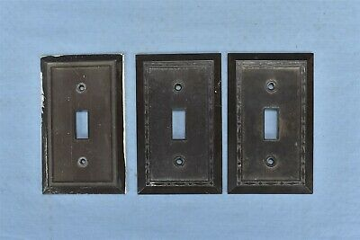 Antique LOT of 3 BROWN BAKELITE SINGLE TOGGLE WALL LIGHT SWITCH COVER #08314
