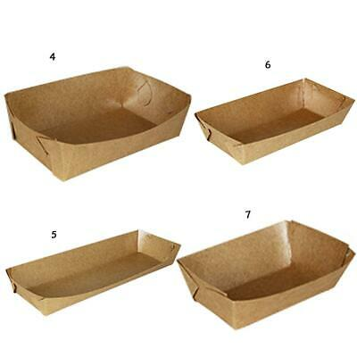 50pcs Kraft Shaped Boat For Oil-Proof Box Tray Paper Chicken Etc Box Fried SJR2