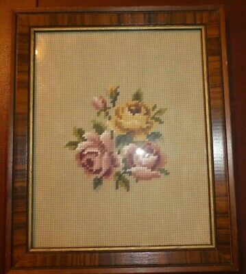 """Vintage Hand Embroidered & Cross stiched Picture 9 1/2""""  high x 7 5/8"""" Roses"""
