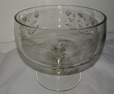 Vintage Floral Etched footed Crystal Glass Centerpiece Bowl With Stamped Pontil