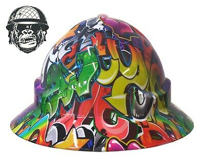 Custom Hydrographic Wide Brim Safety Hard Hats Colour art GRAFFITI WIDE