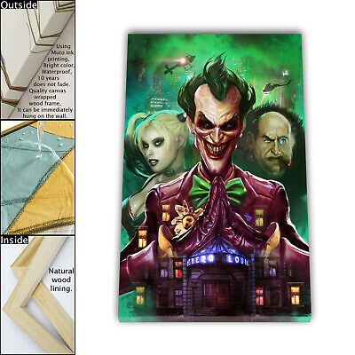 "16""x24"" Batman Arkham Asylum Joker HD Canvas prints Framed Home decor Wall art"