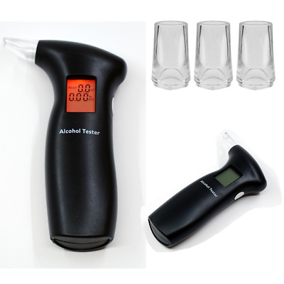 Digital Breath Alcohol Tester Breathalyzer + Mouthpieces Blowing Replacement