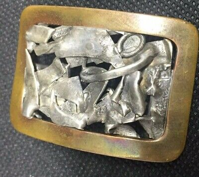 Vintage Art Craft Buckle Copper And Silver