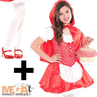 Ladies Adult LITTLE RED RIDING HOOD Fancy Dress Costume Book Week White Tights