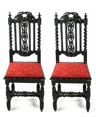 Antique Jacobean Carved Oak Side Chair  - FREE Shipping [5647]