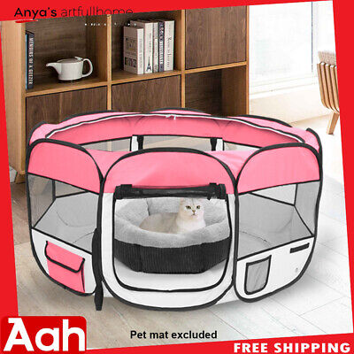 """HOBBYZOO 45"""" Pet Dog Kennel Fence Puppy Playpen Exercise Pen Folding Crate Pink"""