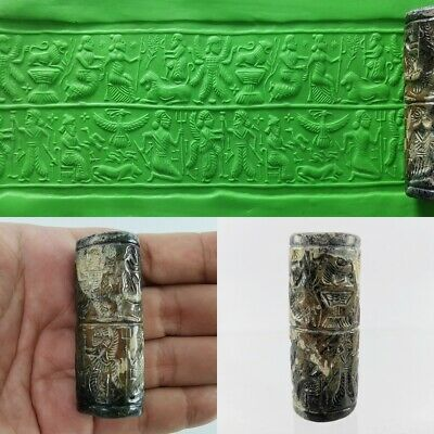 Sassanian Very Old Bead Jasper King / Gods Rolling Cylinder Seal Intaglio #233
