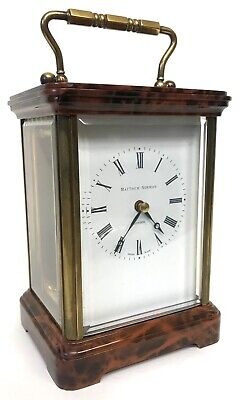 Stunning Matthew Norman Faux Tortoise Shell Large Carriage / Mantel Clock