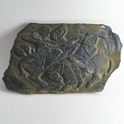 Pre-Islamic Sassanian Roman Ancient Lapis Lazuli Battle Scene Carved Relief #241
