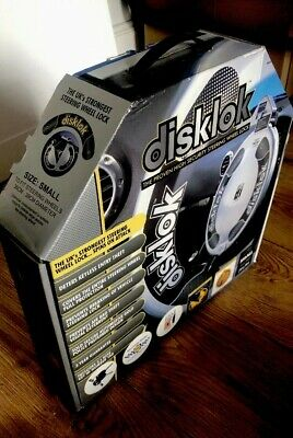 New Disklok Security Small Silver Disklok Steering Wheel Anti Theft Lock  + Keys