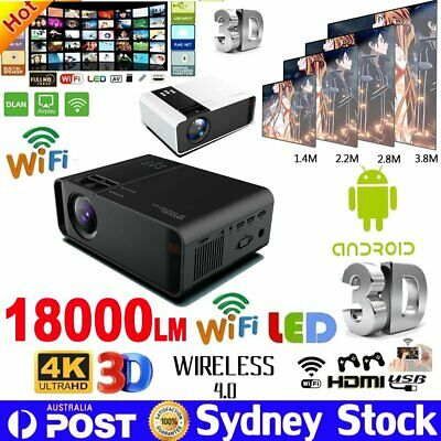 4K HD 1080P LED Android Wifi Smart Projector Home Theater Cinema Bluetooth HDMI