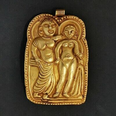 Ancient Gandhara Greco-Buddhist Art Solid Gold Relief Embossed Pendant #240