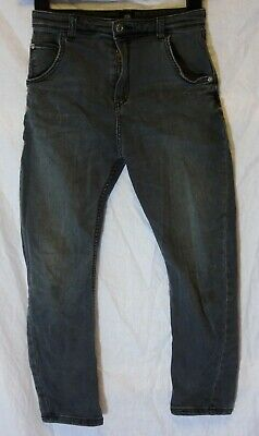Boys River Island Dark Grey Denim Adjustable Waist Arc Leg Jeans Age 9 Years