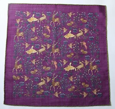 Purple wool & silk Pocket Square. Deer, Pheasant Woodland animals