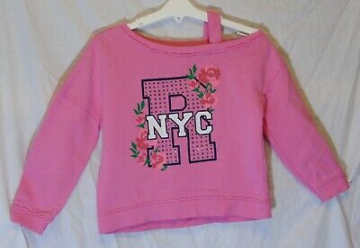 Girls River Island Pink Sparkly NYC Cold Shoulder Sweater Jumper Age 5-6 Years