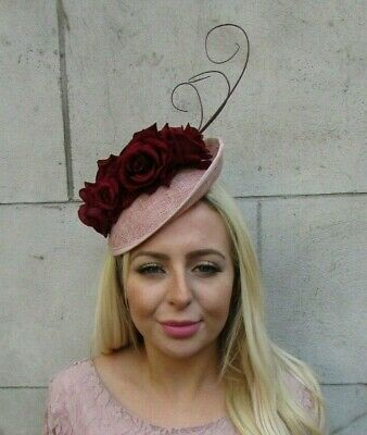 Dusky Nude Pink Burgundy Wine Red Feather Flower Disc Saucer Hat Fascinator 7760