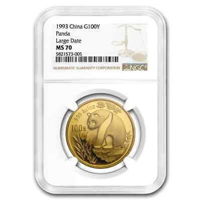 1993 China 1 oz Gold Panda Large Date MS-70 NGC - SKU#201471