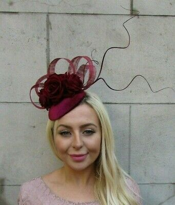 Burgundy Wine Red Rose Flower Feather Hat Hair Fascinator Wedding Races 7762
