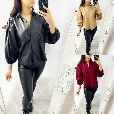 Ladies PVC Faux Leather Cuff Sleeve Shirt Women Collared PU Button Up Blouse Top