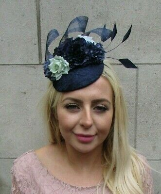 Navy Blue Mint Green Flower Feather Pillbox Hat Fascinator Races Wedding 7766