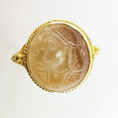 Ancient King Alexander Solid Gold Ring Agate Intaglio Indo - Greek Bactria #242