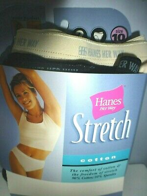 NOS 2 Pairs Vintage Hanes Her Way Stretch Hi-Cut Panties Briefs Size 10 XXL