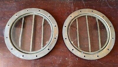 Pair of Brass and Sande Glass Antique Iceland Ship Portholes Maritime