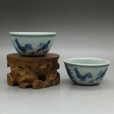 Chinese Blue And White Porcelain Zodiac Animal Rooster Cock Chicken Teacup Pair