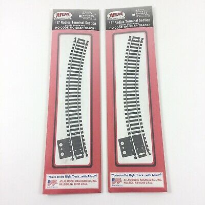 "Atlas HO Scale Code 100 Nickel Silver 18/"" Radius Terminal Section #845 NEW"
