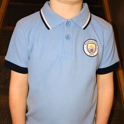 Official Manchester City FC boys Polo Shirt Ages 4-6 Football Top Blue