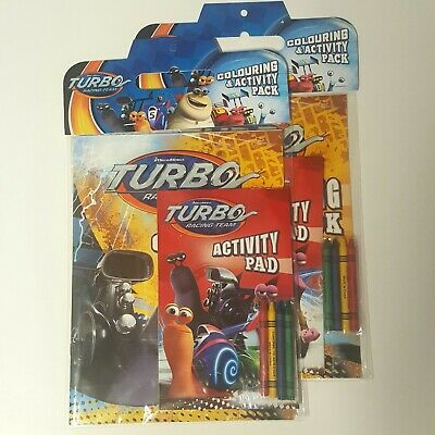 2 Turbo Racing Team DreamWorks Coloring Book Activity Pad Packs With Crayons