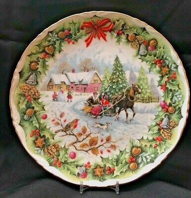 Royal Albert Bone China Christmas Sleighride Plate 1993 ~ Signed ~ EXCELLENT