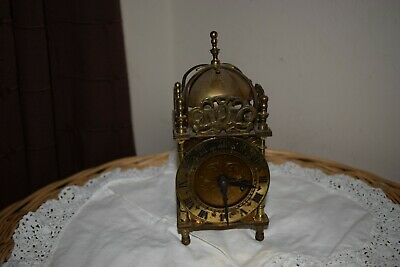 Vintage British Smiths Brass Lantern Clock,  Original Key Condition, Working