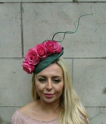 Bottle Dark Green Cerise Hot Pink Flower Feather Saucer Hat Fascinator Race 7778