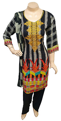 Pakistani Indian Printed Embroidered Lawn Suit, Stitched Shalwar Kameez Salwar