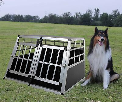 Pet Metal Cage Double Door Transport Pets Dogs Cats Kennel Crate Travel Carrier