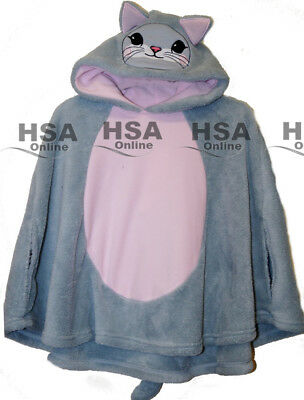 Girls Cute Cat Fleece Cape, Warm Pullover Hoodie Top with Tail, Christmas Gift