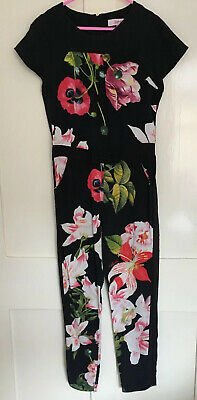 Ted Baker Girls Black Red Poppy Floral Jumpsuit Playsuit - Age 7-8 Years- VGC