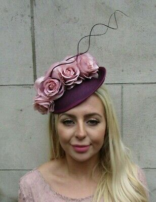 Plum Wine Purple Blush Light Pink Feather Flower Disc Saucer Hat Fascinator 7786