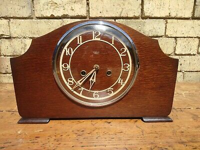 Vintage Smiths, Enfield Art Deco Oak Case Striking Mantel Clock G. W. O