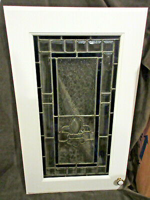 "Pair of Stained Glass Cabinet Doors  ""FLEUR-DE-LIS"" Hubert Work 24"" x 30"""