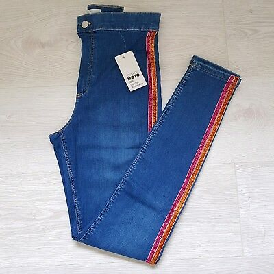 Topshop Side Stripe Super High Waisted Blue Joni Jeans Skinny W28 10 L32 rrp £38