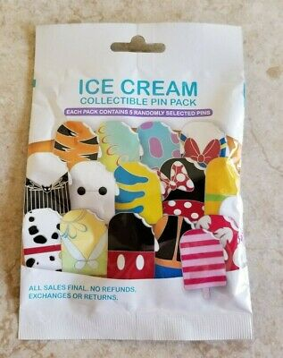 Disney Trading Pins Lot of 5 Mystery Pin Pack New Character Ice Cream Popsicle