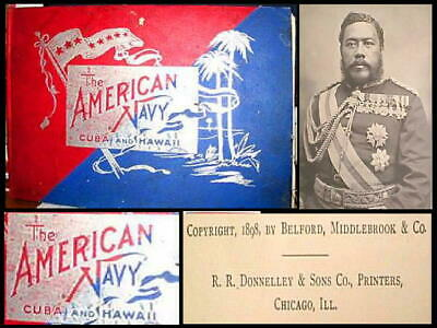 ANTIQUE 1898 BOOK AMERICAN NAVY CUBA HAWAII Large Format With 150 PHOTOGRAPHS EX