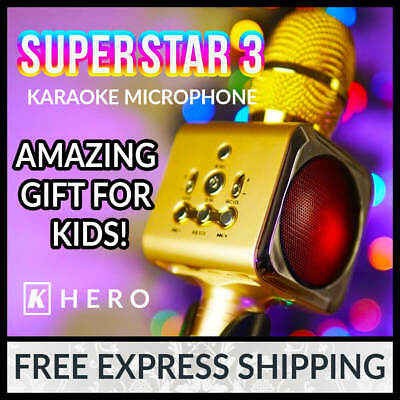 K Hero™ SUPERSTAR 3 Portable Karaoke Microphone Kids Khero Machine