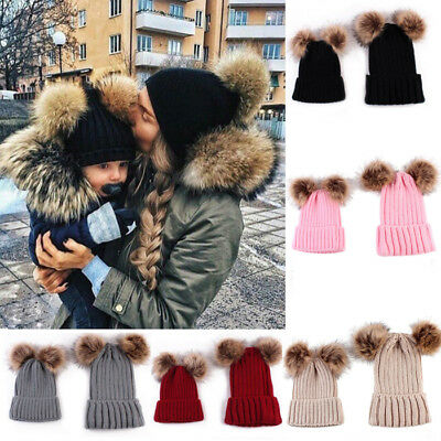 2PCS Mom&Baby Boy Girls Hats Knit Winter Warm Fur Pom Bobble Beanie Cap AU