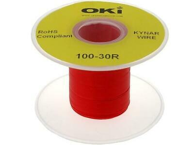 KYNAR30AWG100MR Cable solid OFC 30AWG kynar 460 red 300V 100m R30RED-0100